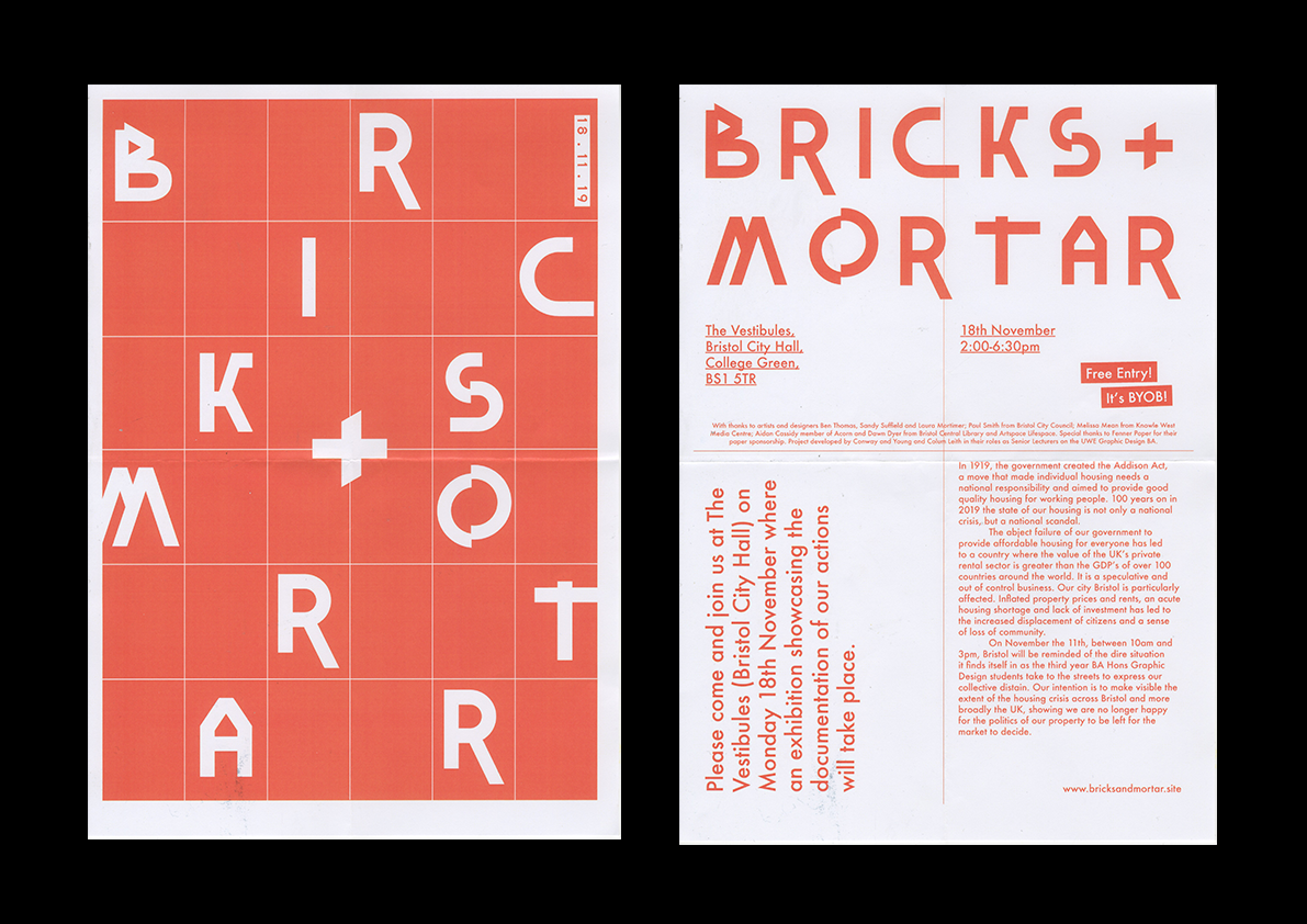 BRICKS + MORTAR | An exhibition showcasing UWE BA Hons Graphic Design student work on the housing crisis